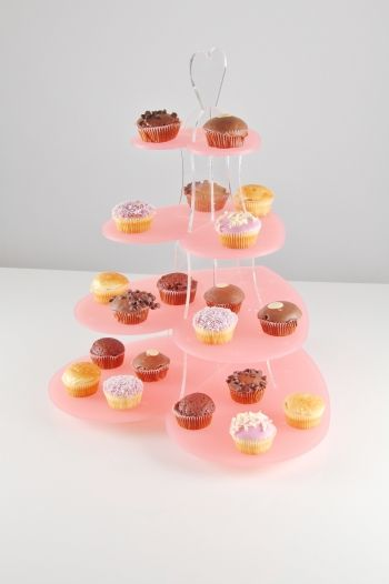 pink cupcake stand for serving horderves