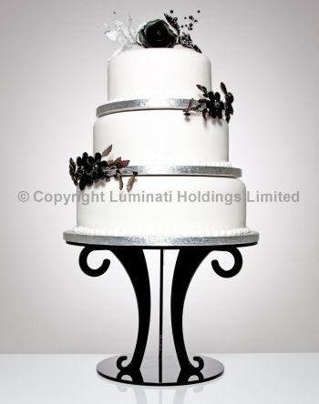 black scroll wedding cake stand