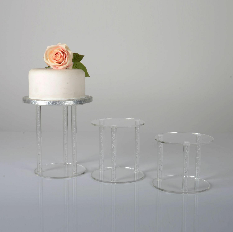 Bubble Rod Pillar Clear Acrylic Wedding Cake Stand