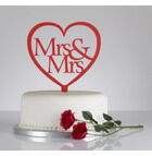 Mrs & Mrs Heart Shaped Wedding Cake Topper