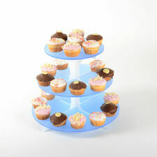 3 Tier Frosted Cupcake Stand with Frosted Spine - Blue