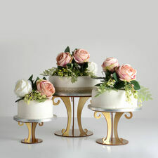 Gold Metallic Acrylic Scroll Wedding Cake Stand