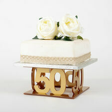 Golden 50th Celebration Cake Stand