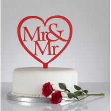 Mr & Mr Heart Shaped Wedding Cake Topper
