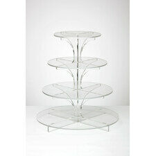 Flat-Packable 4 Tier Clear Round Cupcake Stand
