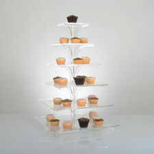 Flat-Packable 6 Tier Square Cupcake Stand