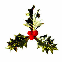 Christmas Plastic Triple Gold Holly AX534