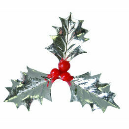 Christmas Plastic Triple Silver Holly AX535