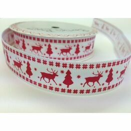Ribbon Reindeer & Tree on White 22mm BTB112