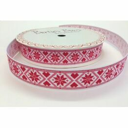 Ribbon Scandinavian Snowflake White 16mm BTB117