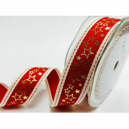 Ribbon Red Stitched Gold Metallic Star Ribbon 25mm BTB-453-1