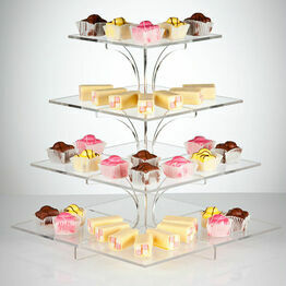 Flat-Packable 4 Tier Clear Square Cupcake Stand