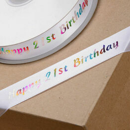 Ribbon Happy Birthday 21st 20mm
