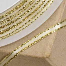 Club Green Satin / Lurex Ribbon 03mm Ivory/Gold
