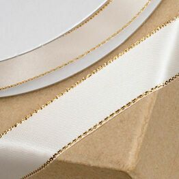 Club Green Satin / Lurex Ribbon 15mm Ivory/Gold