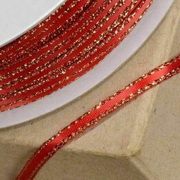 Club Green Satin / Lurex Ribbon 03mm Red/Gold