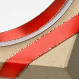 Club Green Satin / Lurex Ribbon 15mm Red/Gold