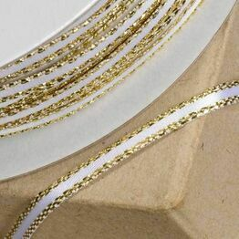 Club Green Satin / Lurex Ribbon 03mm White/Gold