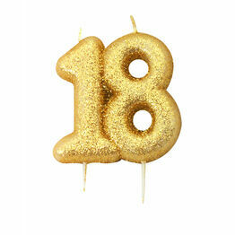 Numeral Moulded Pick Party Candles Gold 18