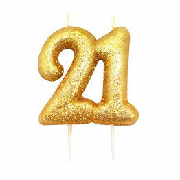 Numeral Moulded Pick Party Candles Gold 21
