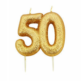 Numeral Moulded Pick Party Candles Gold 50