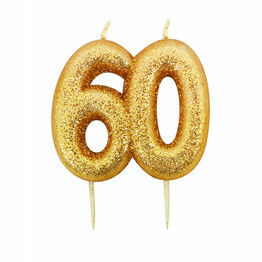 Numeral Moulded Pick Party Candles Gold 60