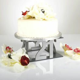 Silver 21st Celebration Square Acrylic Cake Stand