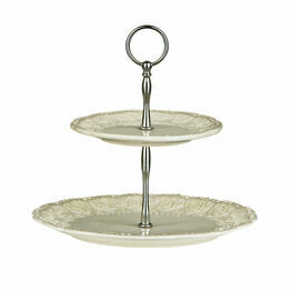 Premier Housewares 2 Tier Diamante Ceramic Georgia Cake Stand