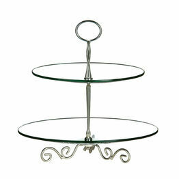 Premier Housewares 2 Tier Glass Cake Stand
