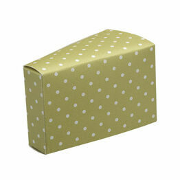 cake slice box moss/green dots 85x45x50mm (10pack)
