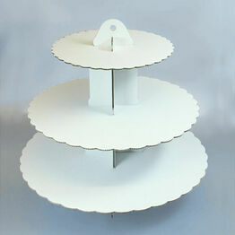 White Cardboard Cupcake Stand 3 Tier