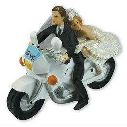 Bride & Groom On Motorbike Cake Topper
