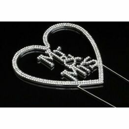 Mr & Mrs Heart Diamante Cake Topper