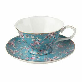 Katie Alice Ditsy Floral Tea Cup And Saucer Teal