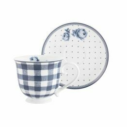 Katie Alice Vintage Indigo Gingham Tea Cup And Saucer