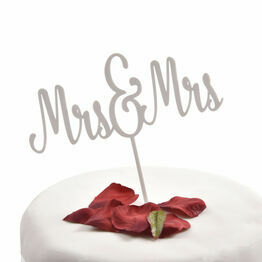 White Acrylic Cake Topper Mrs & Mrs