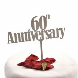 White Acrylic Cake Topper 60th Anniversary