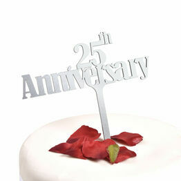 Silver Acrylic Cake Topper 25th Anniversary