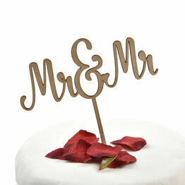 Wooden Cake Topper Mr & Mr