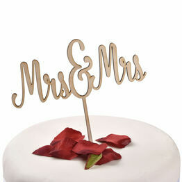 Wooden Cake Topper Mrs & Mrs
