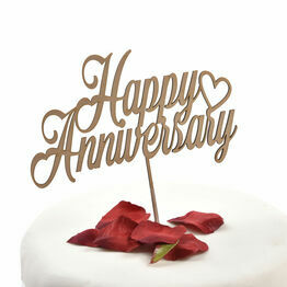 Wooden Cake Topper Happy Anniversary