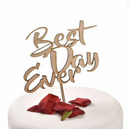 Wooden Cake Topper Best Day Ever