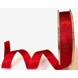 Berties Bows Red Sparkle Satin Ribbon BTB485 15mm
