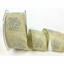 Natural 38mm White Glitter Snowflakes Faux Linen Ribbon