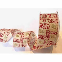 Christmas Print on Natural Faux Burlap Ribbon 38mm BTB210
