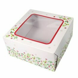 Christmas Cake Box Holly Design 8inch