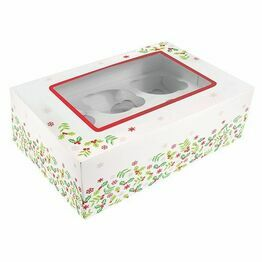 Christmas Holly Cupcake Box 6 or 12 hole