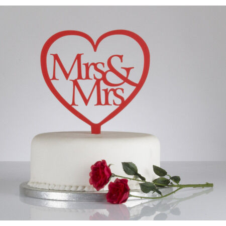 Heart Cake Decorations Uk : Mrs & Mrs Heart Shaped Wedding Cake Topper from ?8.36