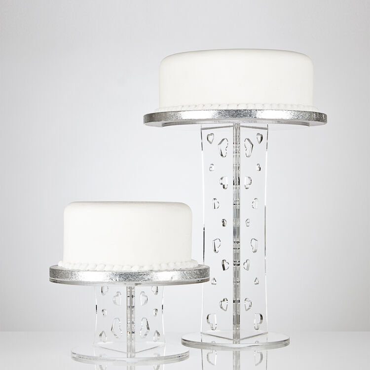 Olivia Round Single Tier Acrylic Cake Stand - Various Heights