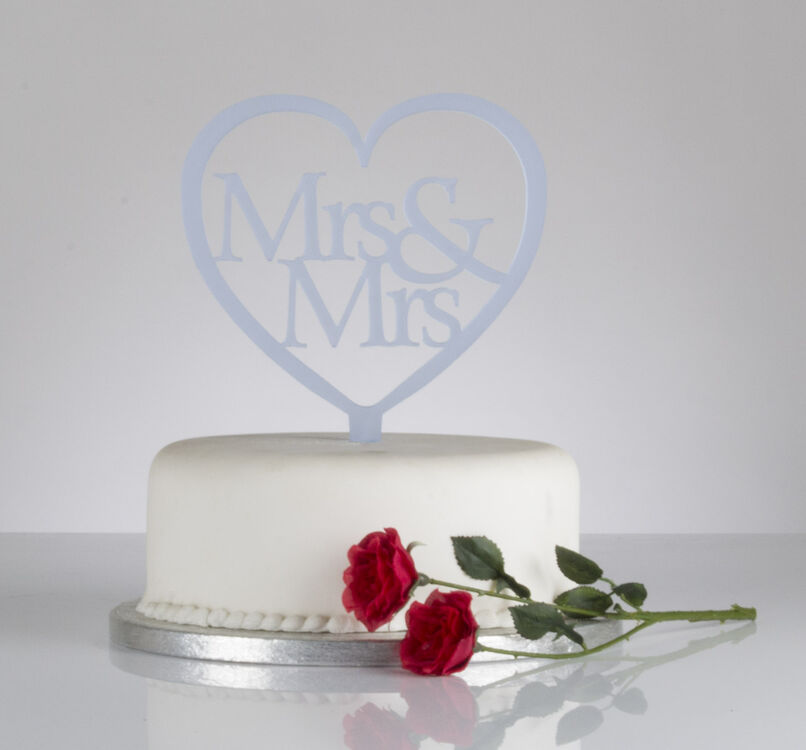 Mrs & Mrs Heart Shaped Wedding Cake Topper from ?7.74